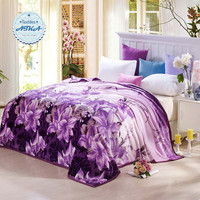 Coral Fleece blanket on the bed home adult Plaid Flower beautiful blanket warm winter sofa travel blanket purple portable #2