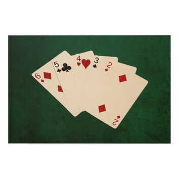 Poker Hands - Straight - Six To Two Wood Print