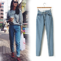 Free shipping 2016 New Slim Pencil Pants Vintage High Waist Jeans new womens pants full length pants loose cowboy pants C1332-in Jeans from Women's Clothing & Accessories on Aliexpress.com | Alibaba Group