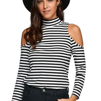 Turtleneck Full Sleeve Strapless Striped Slim Sexy Blouse Shirt 2016 New Arrival Autumn Casual Skinny Blouse Fall Women Tops
