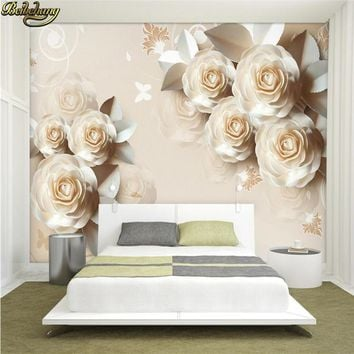 beibehang Paper Carved Rose Romantic 3D Relief TV Backdrop Custom Photo Wallpaper 3D Large Wallpaper Wall Sticker