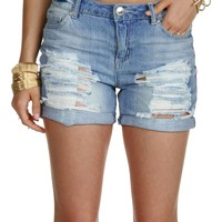 Sale-denim Destructed Bf Shorts