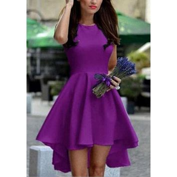 Purple Pleated Swallowtail High-Low High Waisted Banquet Graduation Formal Party Midi Dress