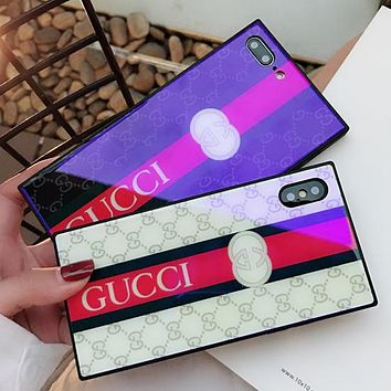 GUCCI Tide brand blue square glass iPhone7/8 mobile phone case cover