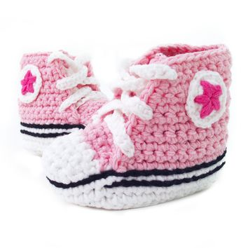 Crochet Baby Booty Pink Slippers Sneakers Chuck Taylors