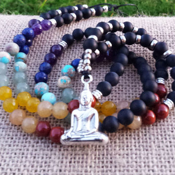 108 MALA Necklace Buddhist Spiritual Meditation Mala Buddha Mala Necklace Beaded Gemstones Chakra MalaBody & Soul Balance Energy