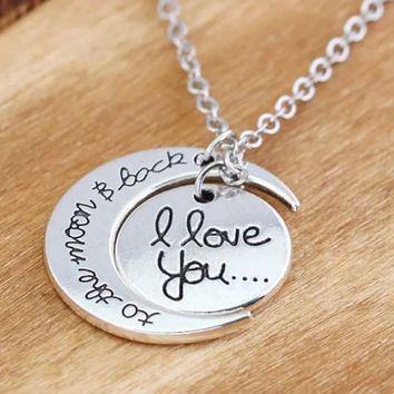 Love you to the Moon Stamped Necklace