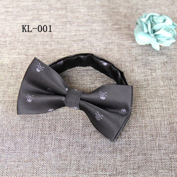 Fashion Slim Bow Ties For Mens Business Suits Skinny Bow Tie Cravat Classic Black Design Skull Bowtie Boys Brand Accessories