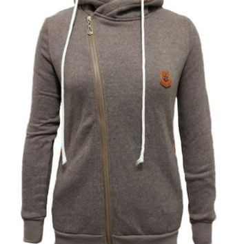 Khaki Pockets Side Zip Badge Drawstring Hooded Long Sleeve Casual Vogue Hooded Sweatshirt