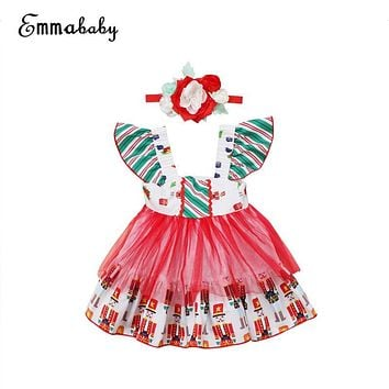 Xmas 2PCS Baby Girl Prinsess Dress Kid Baby Girl Christmas Cotton Dress+Flower Hairband 2017 New Hot Bebes Vestido Infantil 0-3Y