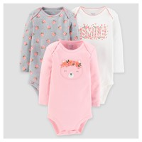 Baby Girls' 3pk Long Sleeve Floral Bodysuit - Just One You™ Made by Carter's® Pink