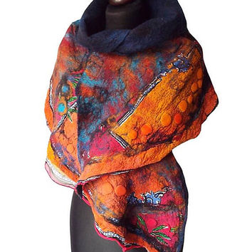 Nuno Felted Scarf Nuno Felted Collar Colorful Hand Felted Shawl Art to wear Wool Neck Warmer Women's Gift Felted Silk scarf OOAK
