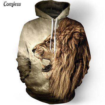 2016 New Fashion Lion Hooded Shirts Men Printed 3D Animal Hoodies Casual Graphic Hoodie Funny Sweat Shirt Tie-dye Sweatshirts