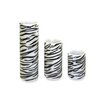 Set of 3 Zebra Print Battery Operated Flameless LED Lighted Flickering Wax Pillar Candle with Remote
