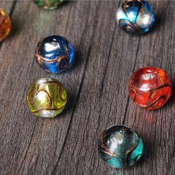 10pieces Japanese gold foil plate silk glazed beads fine ancient French glass beads beads diy jewelry accessories glass beads