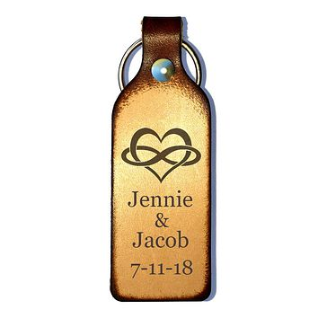 Infinity Heart Laser Engraved Personalized Keychain