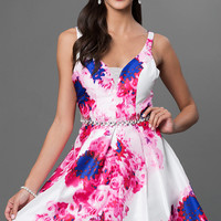 Floral Print Short Sleeveless Dress by Sequin Hearts