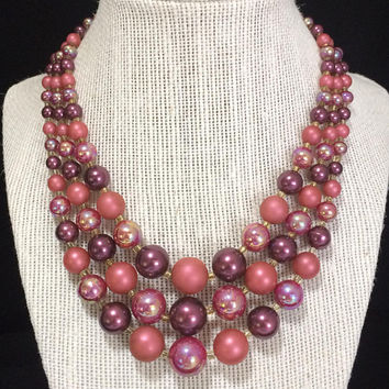 Shades of Pink Plum Red Graduated Lucite Bead Necklace Multi Strand Mid Century Vintage Beaded Jewelry, Costume Jewellery 518
