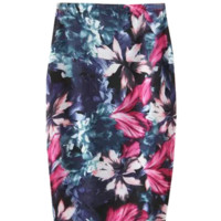 'Claire' Rainforest Floral Printed Midi Bodycon Pencil Skirt