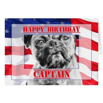 Birthday Captain Military Soldier Pug Dog Card