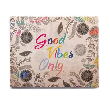 """Famenxt """"Good Vibes Only"""" Gray White Floral Typography Illustration Vector Birchwood Wall Art"""
