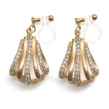 Gold Bridal Crystal Invisible Clip On Earrings Wedding Drop Pave Clip Earrings Dangle Wedding Cubic Zirconia Clip-ons Non Pierced Earrings