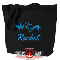 Personalized Nurses Tote EKG Heart Medical Profession Totes With Zipper CNA RN Doctor
