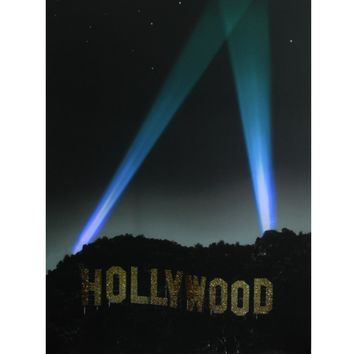 "LED Lighted Hollywood Sign with Spot Lights Canvas Wall Art 19.5"" x 27.5"""