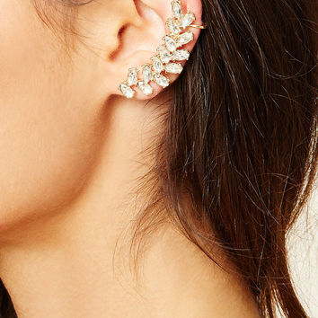 Rhinestone Leaf Ear Cuffs