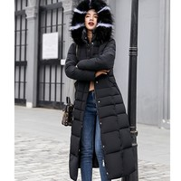 Warm Winter Padded Puffer Jacket With Fur Collar
