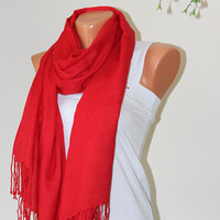 Red Pashmina-Bridesmaid Gift -Wedding Shawl-bridal scarf - bridal shawl - bridesmaid gift - wedding gift - scarf - shawl - gift -