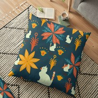 'Tropical wild kitties' Floor Pillow by cocodes
