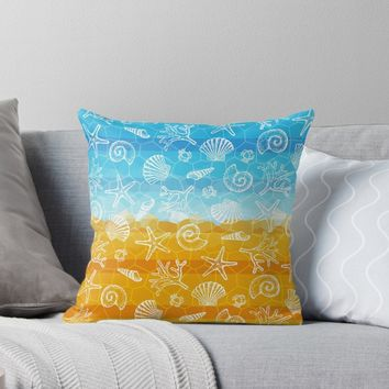 'Sea & Sand - Vibrant' Throw Pillow by miavaldez
