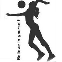 Sporting Volleyball Believe in Yourself Wall Decal Sticker Living Room Stickers Vinyl Removable Wide 53cm High 65cm Black Color