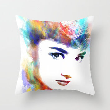 Audrey Hepburn Throw Pillow by Michael Akers | Society6