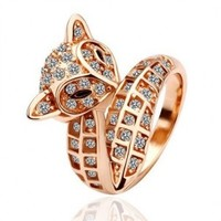 Eva Rose Gold CZ Fox Ring - JEWELRY - ACCESSORIES
