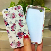 iPhone 5 5s Case White Vintage Flower Floral Silicone iPhone 4 4S Cover