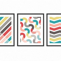 Modern Living Room Art Prints / Posters Set 3 / Office or Dining Room Wall Decor - Coral, Red, Gray, Turquoise/Aqua Geometric Patterns 8x10