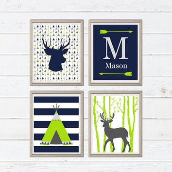 Tribal Nursery Decor - Tribal Teepee Deer Wall Art - Nursery Art Print -Teepee Print - Tribal Decor - Deer Print - Baby Room Nursery Print