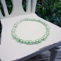 Green Pearl Bracelet, Mint Pearls with Silver