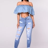 Evelyn Distressed Fringe Skinny Jeans - Light Blue