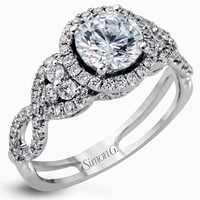 Simon G. 18K White Gold Diamond Halo Split Shank Twist Engagement Ring