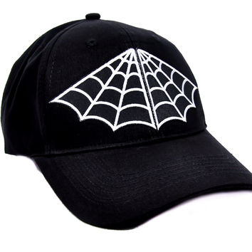 Creepy Spider Web Hat Baseball Cap Alternative Gothic Clothing