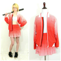 80s vintage tennis gear / Dead stock/old stock tennis skirt/jacket outfit / Red and white ombre / Sports / sweatsuit / Ellesse with tags