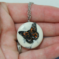 Monarch Butterfly and Howlite pendant