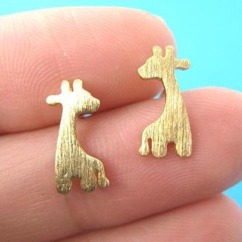 Giraffe Silhouette Animal Stud Earrings in Gold with Allergy Free Earring Posts