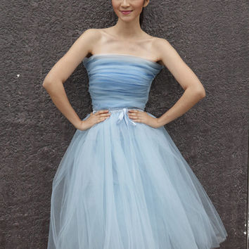 Tulle Skirt Tea length Tutu Skirt Elastic Waist tulle tutu Princess Skirt Wedding Skirt in Light Blue - NC508