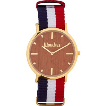 Red Sandalwood Gold NATO Watch