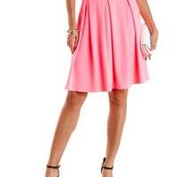 Box-Pleated Full Midi Skirt by Charlotte Russe - Bright Pink
