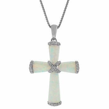 """.07 cttw Diamond and Created Opal Cross Pendant in Sterling Silver 18"""""""